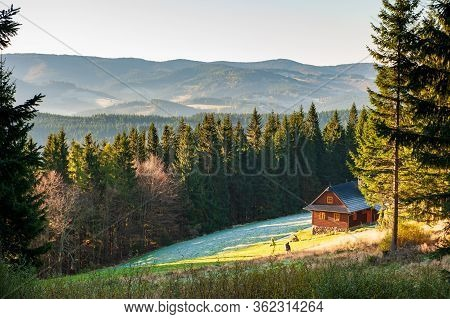 Young Woman With Big Backpack Trekking In Mountains Of Beskydy. Wandering In Beskid Slaski Mountains