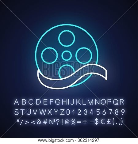 Documentary Film Neon Light Icon. Outer Glowing Effect. Sign With Alphabet, Numbers And Symbols. Mov