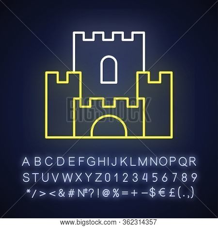 Fantasy Film Neon Light Icon. Outer Glowing Effect. Sign With Alphabet, Numbers And Symbols. Fiction