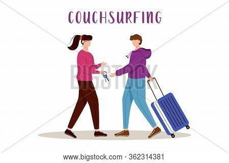 Couchsurfing Flat Vector Illustration. Lodging Without Charge. Cheap Travelling Choice. Free Stay. G