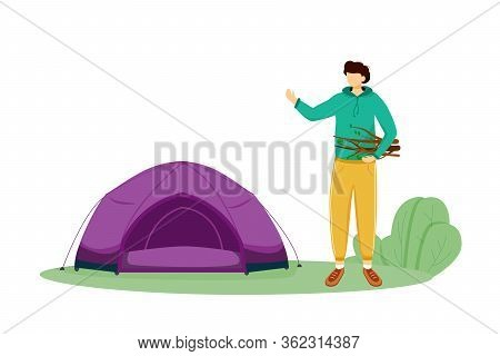 Staying In Tent Flat Vector Illustration. Summer Camping Activity. Cheap Travelling Choice. Active V