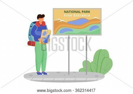 Free Entrance To National Park Flat Vector Illustration. Hiking Activity, Walking Tour. Cheap Travel