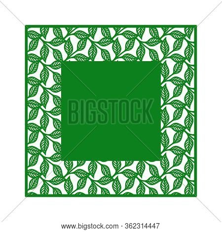Vector Square Frame With A Pattern Of Leaves And Copy Space (place For Text) In The Middle. Design E