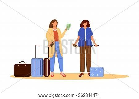Girls Pack Luggage Flat Vector Illustration. Getting Ready For Trip, Voyage. Friends With Suitcases.