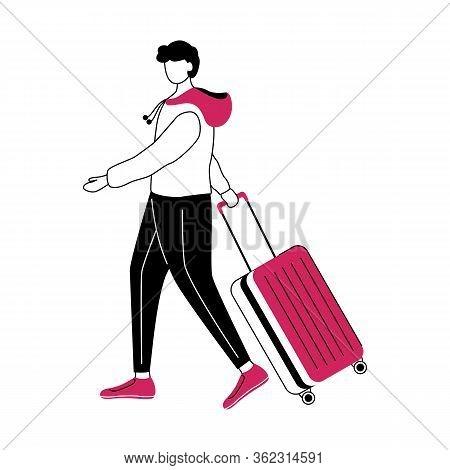 Boy Tourist With Suitcase Flat Contour Vector Illustration