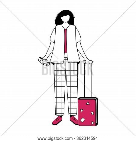 Girl Tourist With Suitcase And Boarding Pass Flat Contour Vector Illustration