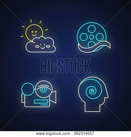 Movies And Tv Genres Neon Light Icons Set. Cartoons, Documentary, Arthouse And Philosophical Films S