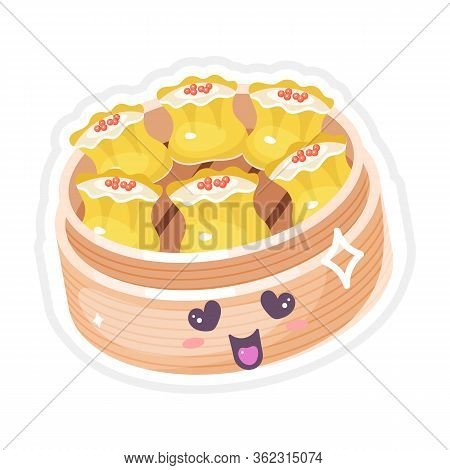 Chinese Dim Sum Cute Kawaii Vector Characters Set. Asian Dish With Smiling Face. Eastern Traditional