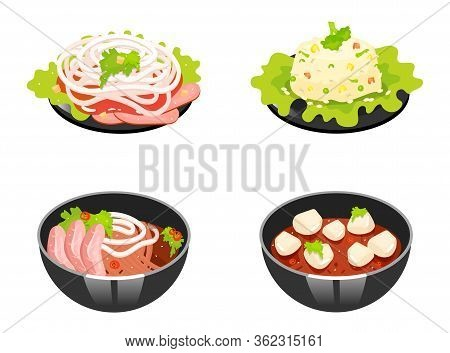 Chinese Dishes Color Icons Set