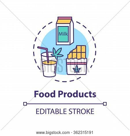 Food Products Concept Icon. Cannabis Infused Food, Edible Hemp Products Idea Thin Line Illustration.