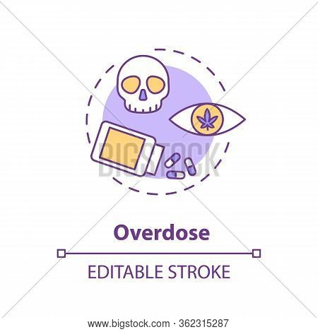 Overdose Concept Icon. Cannabis Caused Death, Lethal Dose Idea Thin Line Illustration. Marijuana Con