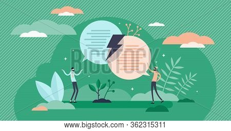 Different Opinion Vector Illustration. Debate Process Scene Flat Tiny Person Concept. Discussion Wit