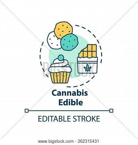 Cannabis Edible Concept Icon. Marijuana Infused Food, Hemp Snacks Idea Thin Line Illustration. Sweet