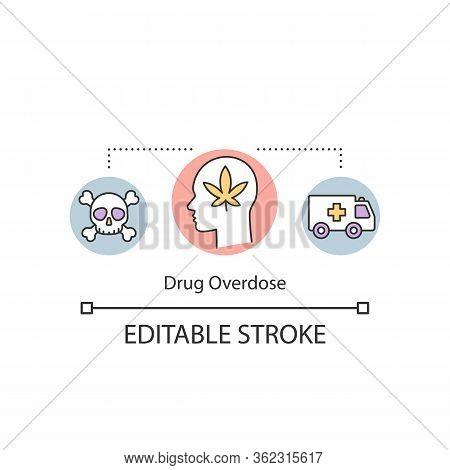 Drug Overdose Concept Icon. Psychoactive Substance Dependance Consequence Idea Thin Line Illustratio