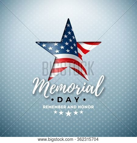 Memorial Day Of The Usa Vector Design Template With American Flag In Cutting Star Symbol On Light Ba