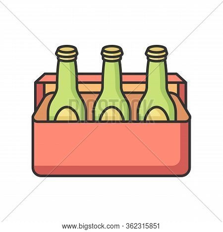 Beer Rgb Color Icon. Alcoholic Beverage In Cooler. Booze In Package. Drinks In Box. Party Refreshmen