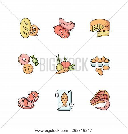 Grocery Food Rgb Color Icons Set. Bread Loaf, Fresh Baked Goods. Meat Sausages. Cheese Wheel. Candy