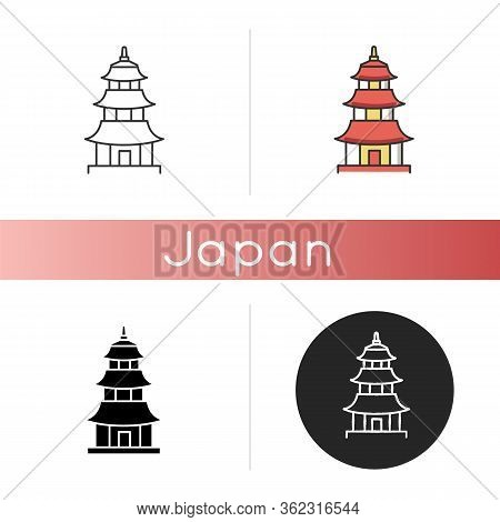 Japanese Temple Icon. Buddhist Pagoda Structure. Traditional Shinto Temple. Japanese Style Castle. O