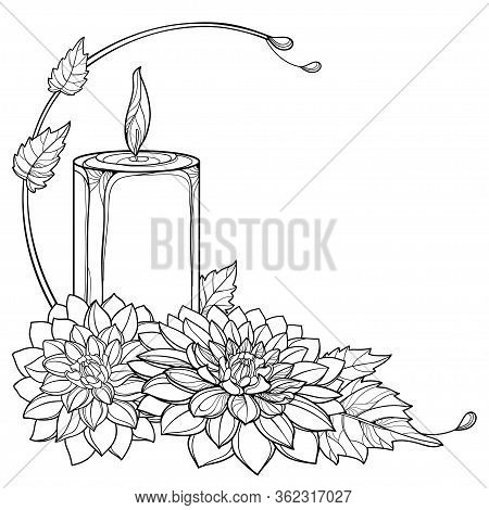 Vector Corner Bouquet With Outline Two Chrysanthemum Flower, Leaf And Burning Candle In Black Isolat