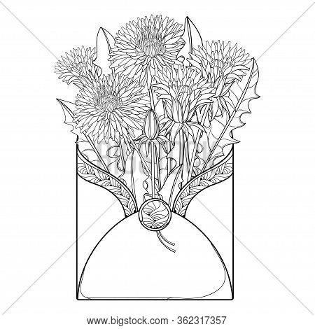 Vector Bouquet Of Outline Dandelion Flower, Bud And Leaves In Open Craft Envelope In Black Isolated