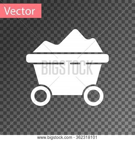 White Coal Mine Trolley Icon Isolated On Transparent Background. Factory Coal Mine Trolley. Vector I