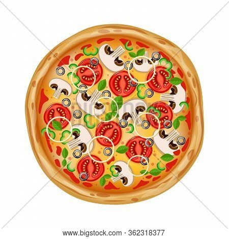 Top View Pizza With Various Ingredients. Whole Pizza With Various Ingredients. Italian Pizza