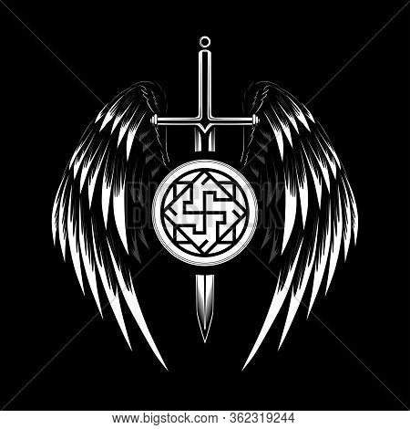 Vector Image Of A Sword With Wings. Image With A Symbol Of The Valkyrie. Black And White Image On A