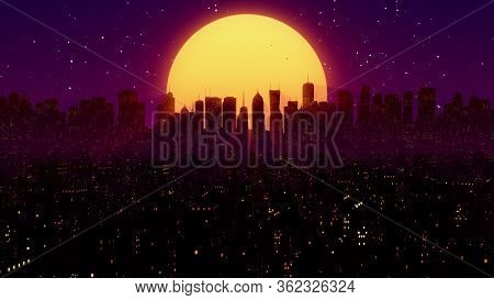 80s Night City Synthwave Vj Cyberpunk Background With Neon Lights, Sun And Stars