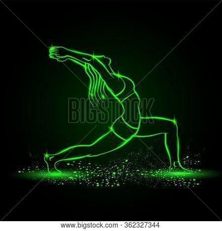 Girl Practices Yoga In Warrior One Pose. Vector Green Neon Virabhadrasana Illustration.