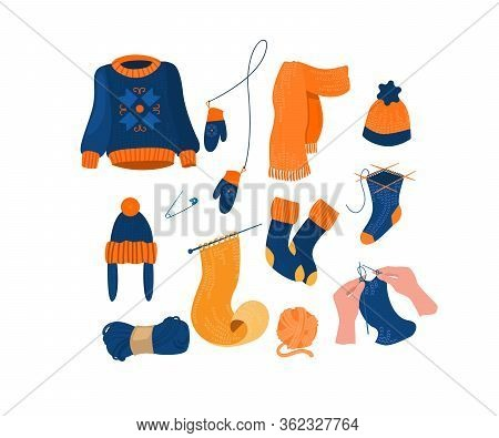 Warm Knitted Accessory And Clothes Set. Hands Of Knotting Woman With Needles, Sweater, Hat, Mittens,