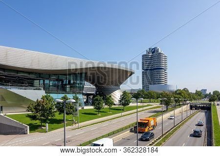 Panoramic View Of Bmw Museum, Bmw Welt And Bmw Headquarters, Munich, Germany, March 2020