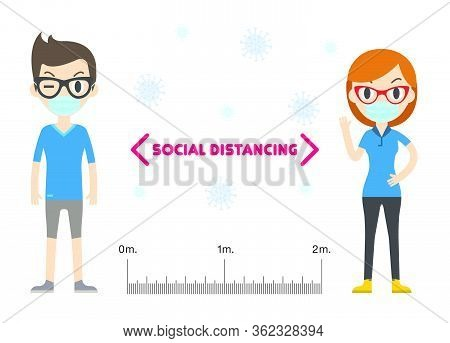 Social Distancing, Keep Distance In Public People Society To Protect From Covid-19. Coronavirus Outb