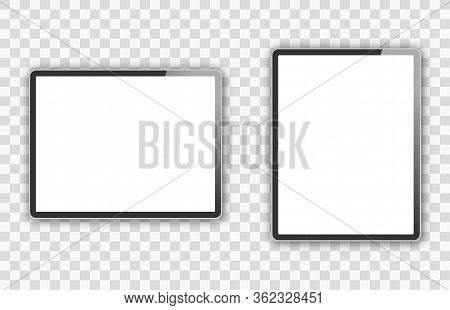 Two Realistic Tablet Pc With Screen Isolated On Transparent Background. Can Use For Template, Projec