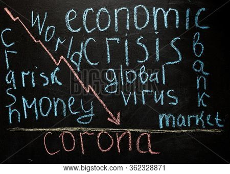 Corona Crash Hand-drawn Graph On Chalkboard Showing Stock Market Collapse Or Financial Economy Crisi
