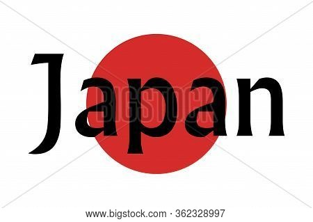Vector Illustration Of The Flag Of Japan With The Text Japan