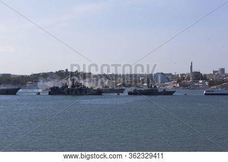 Sevastopol, Crimea, Russia - July 28, 2019: Small Anti-submarine Ship Mpk-118 Suzdalets Firing From