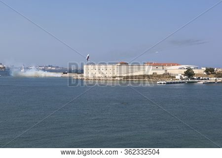 Sevastopol, Crimea, Russia - July 28, 2019: Shooting From Grad Installations On Navy Day From The No