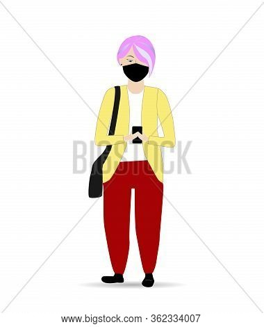 Girl Covered The Medical Mask Walking Outdoors With Smartphone In Hand. Flat Jpeg Illustration Of Wo