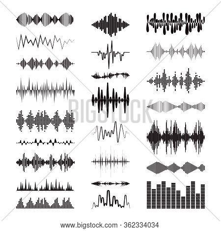 Black Sound Waves Logo Collection With Audio Symbols On White Background. Modern Music Equalizer Ele