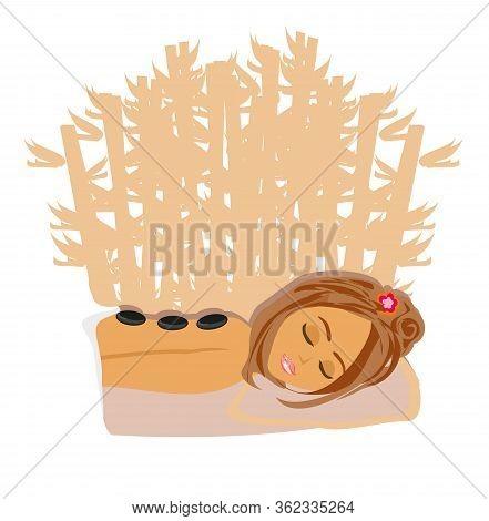 Girl Relaxes In Spa Salon , Vector Illustration