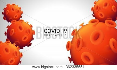 Novel Coronavirus Realistic 3d Red Viral Cell. Horizontal Web Banner Concept. Vector Illustration Wi