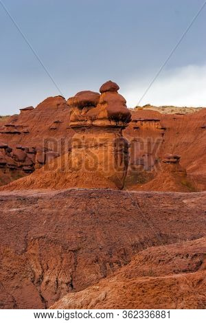 Scenic Utah state park Goblin Valley. Hoodoo - geological formations. Picturesque huge figures of red-brown sandstone formed as a result of erosion. USA. The concept of active, ecological tourism