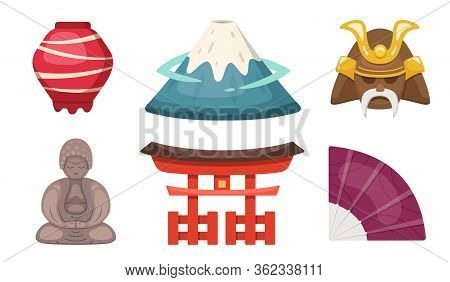 Japan Traditional Object Vector Icons In Cartoon Style. Japanese Theme Illustrations: Fuji Mountain,