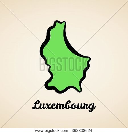 Green Simplified Map Of Luxembourg With Black Outline.