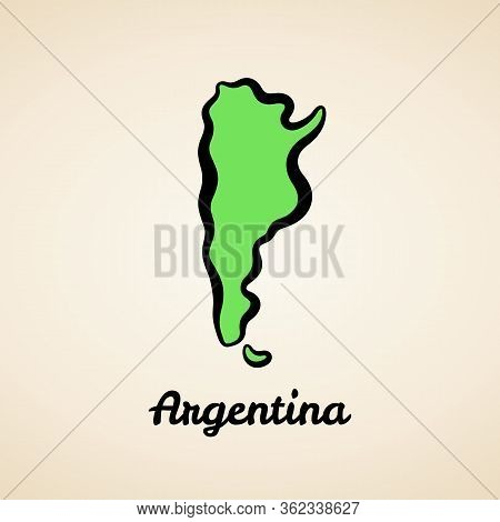 Green Simplified Map Of Argentina With Black Outline.