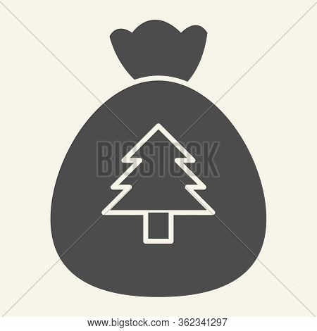 New Year Bag Solid Icon. Santa Christmas Bag With Firtree Glyph Style Pictogram On White Background.