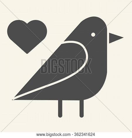 Sparrow Bird Solid Icon. Small Finchlike Bird With Heart Symbol Glyph Style Pictogram On White Backg