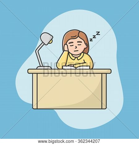 Procrastination, Education Concept. Tired Student Girl Fall Asleep On Desk During Lecture In Univerc