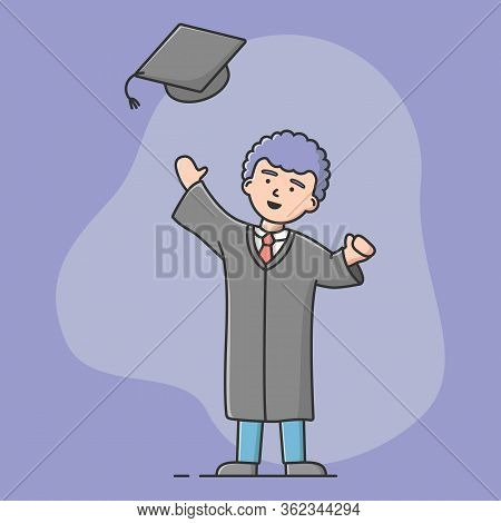 End Of University Courses And Graduation Concept. Cheerful Student Celebrate Academic Trainings End.