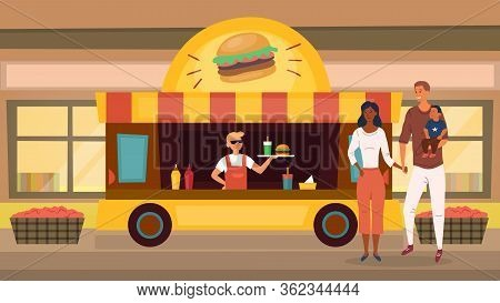 Street Fast Food Concept. Fast Food Mobile Restaurant Food Truck With Hamburgers, Soda And Different
